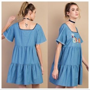 NWOT Easel Babydoll Boho Embroidered Denim Dress M